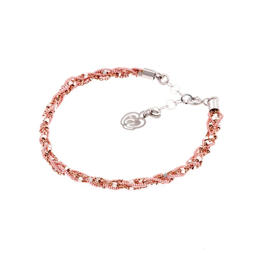 bracciale rosa cipria argento-925-tessuto colore cipria