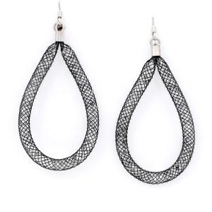 orecchini neri argento pendenti goccia