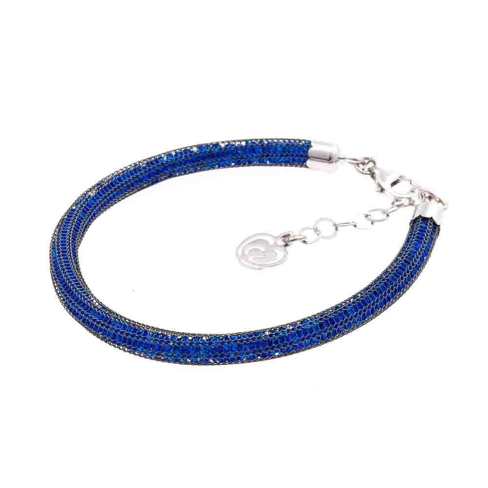 bracciale argento -925-cristalli azzurri e rutenio