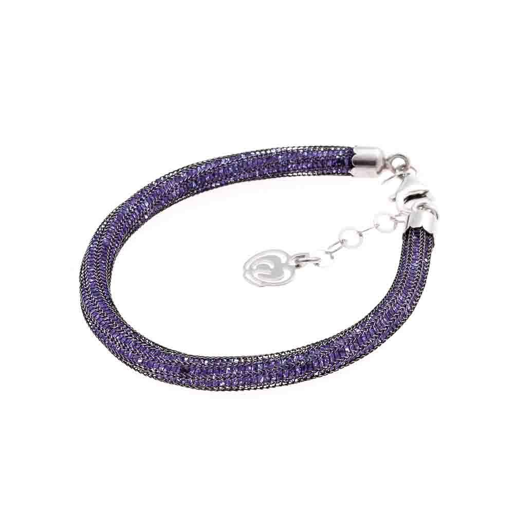 Bracciale viola: argento 925 rutenio e cristalli viola
