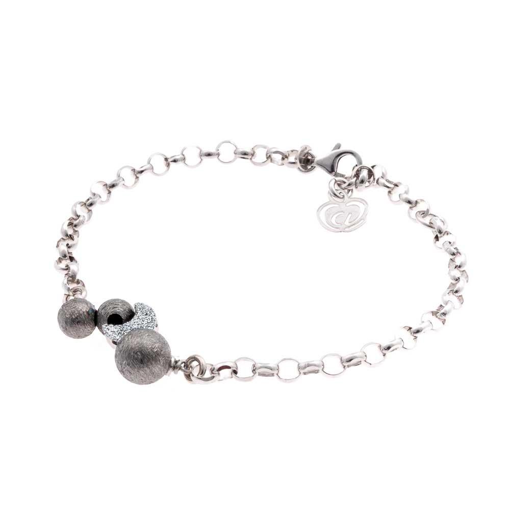 bracciale argento 925 zirconi a forma di luna e sfere nere rutenio