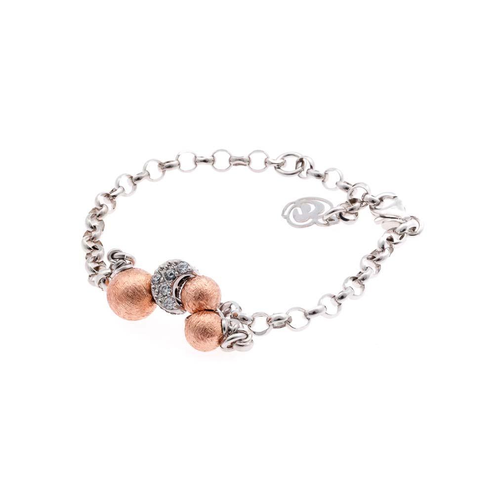 bracciale argento 925 zirconi a forma di luna e sfere placcate oro rosa 18 carati