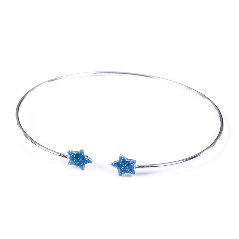 barcciale argento 925 rigido e 2 stelle celesti.