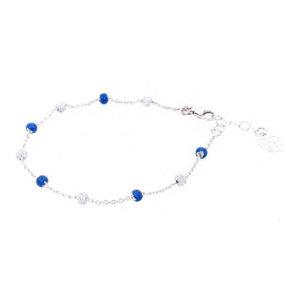 bracciale argento-925 e smalti glitter azzurri e bianchi
