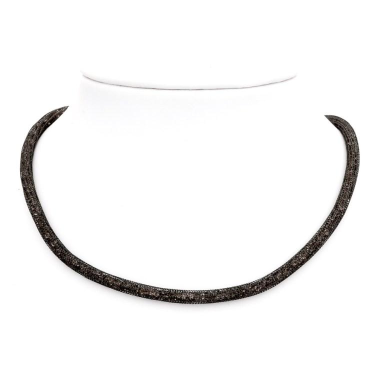 Collana argento-925 e cristalli neri