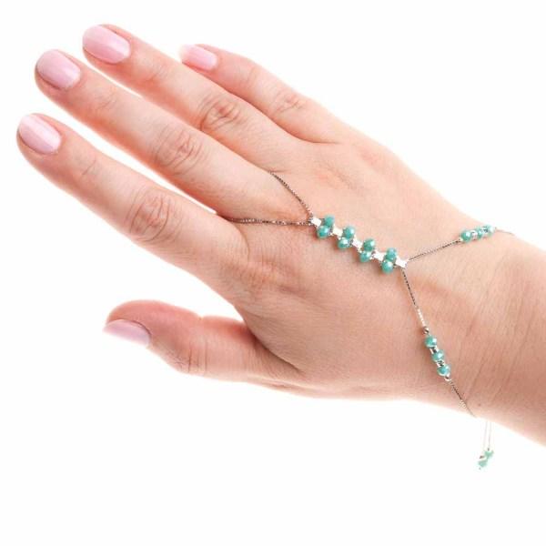 Baciamano argento 925 cristallo verde tiffany