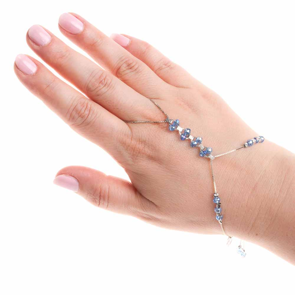 bracciale baciamano argento-925-cristalli azzurri