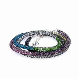 collana argento lunga 80cm multicolore