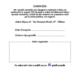 certificato di garanzia gioiello Caramella
