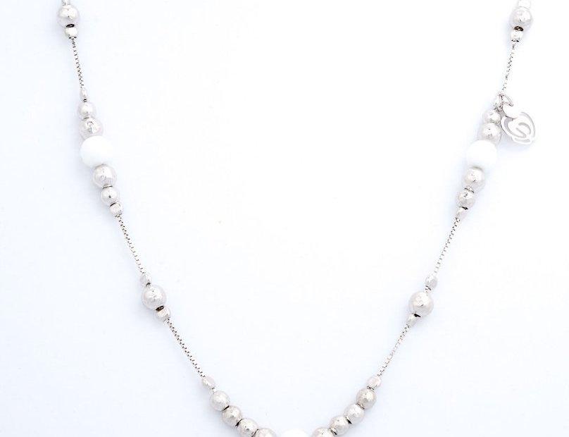 collana argento ed agata bianca