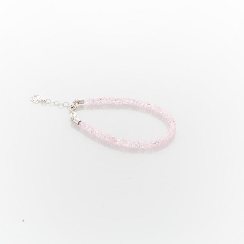 bracciale bambina argento e cristalli colore rosa chiaro