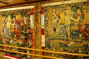 Compare an original Gobelin tapestry (and Important Cultural Property) to its recent reproduction in Kankō Boko's display area.