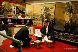 jomyo yama treasure display offerings preparation kimono men gion festival kyoto japan
