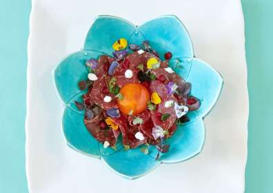 Wagyu bresaola with marinated egg and small vegetables