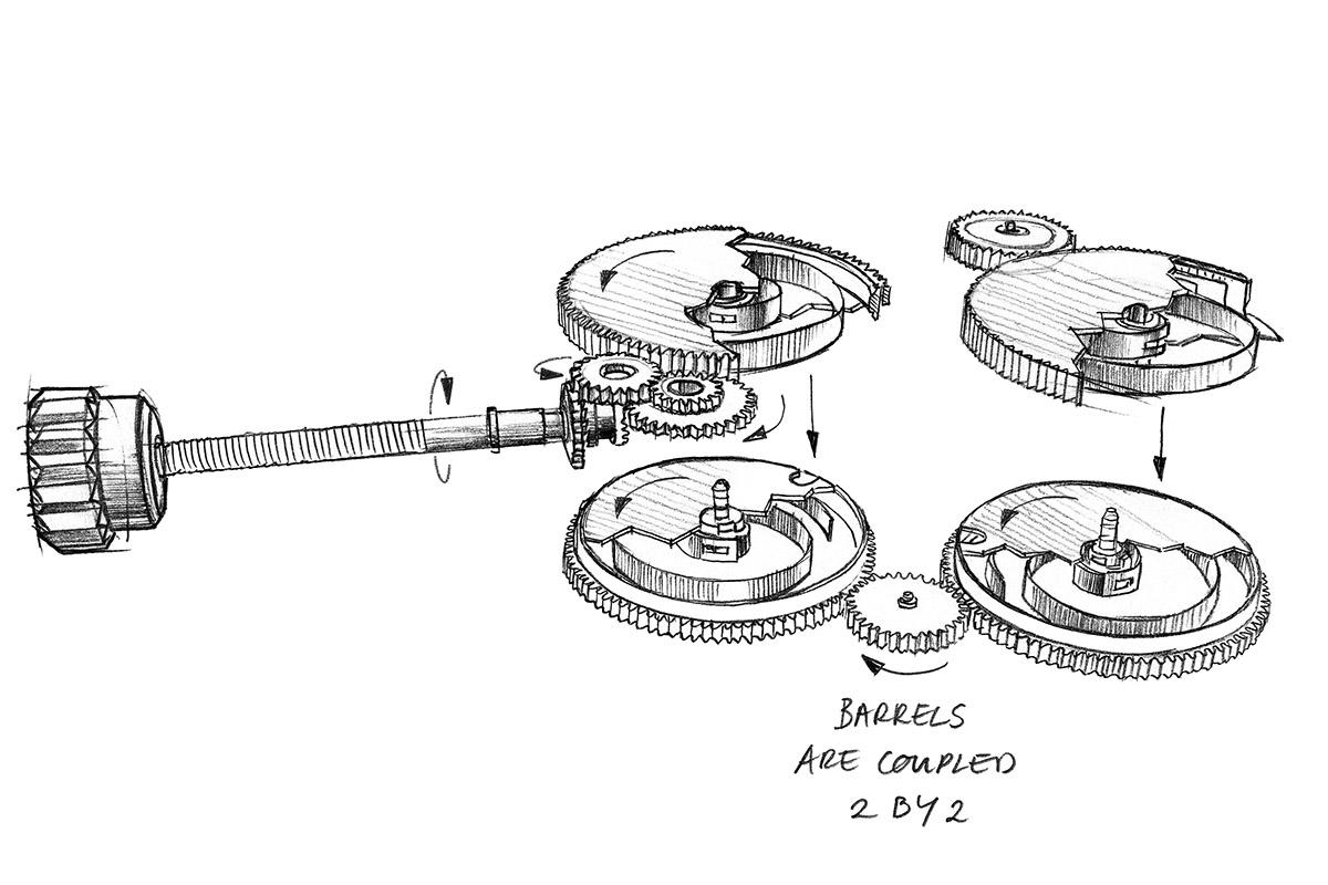 Disegno dei quattro bariletti montati nel calibro L.U.C 98.01-L