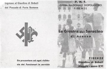 9 maggio 1938: Biglietto per l'accesso al Giardino di Boboli riservato ai figuranti della Giostra del Saracino