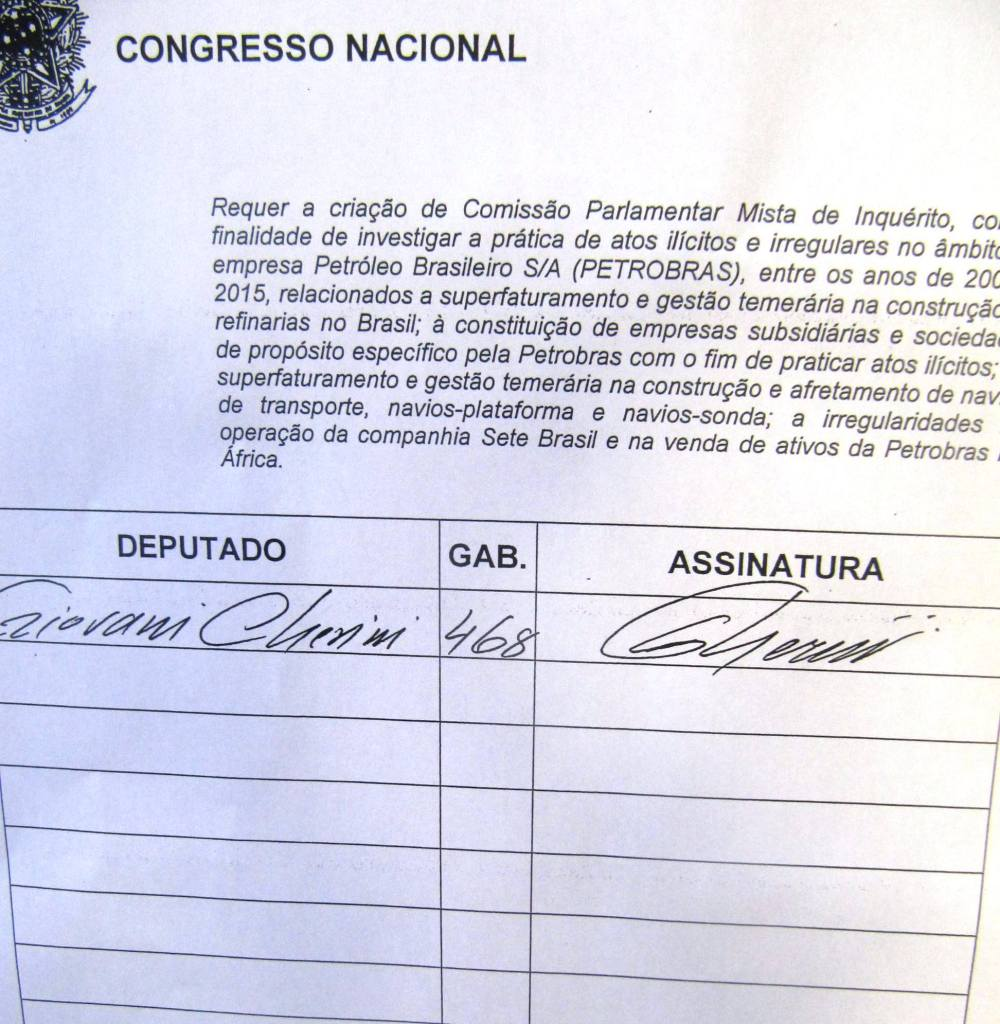 Giovani Cherini assinou a CPI Mista da Petrobras
