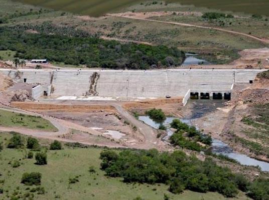 Obras da barragem Jaguari em Rosário do Sul/RS