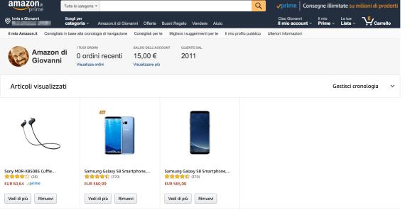 """Amazon: eliminare la cronologia dei """"prodotti visti"""" 4"""