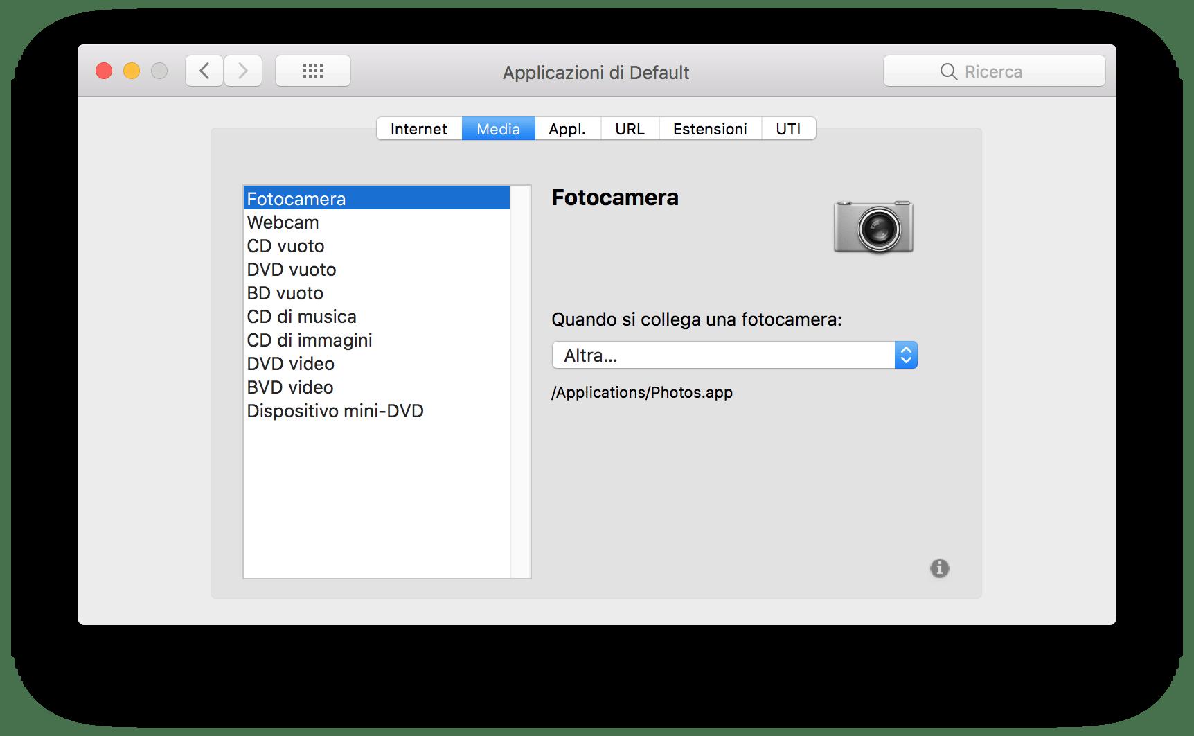 macOS: modificare l'associazione predefinita di estensioni e app 2