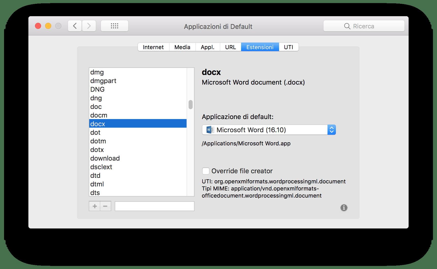 macOS: modificare l'associazione predefinita di estensioni e app 5