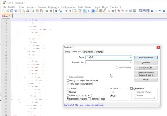Notepad++: eliminare tutto ciò che c'è prima di un carattere