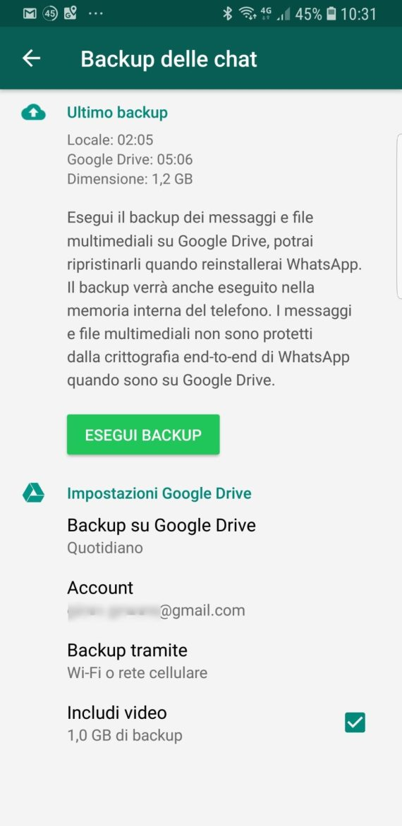 Cambiamento che interessa i backup di WhatsApp su Google Drive 4