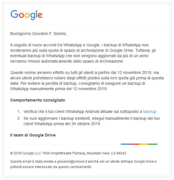 Cambiamento che interessa i backup di WhatsApp su Google Drive