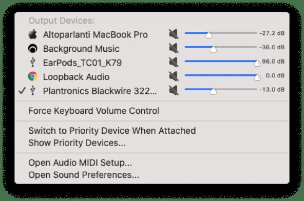 Gestire le sorgenti audio su macOS 1