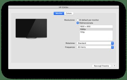 macOS: visualizzare tutte le possibili risoluzioni del monitor 1