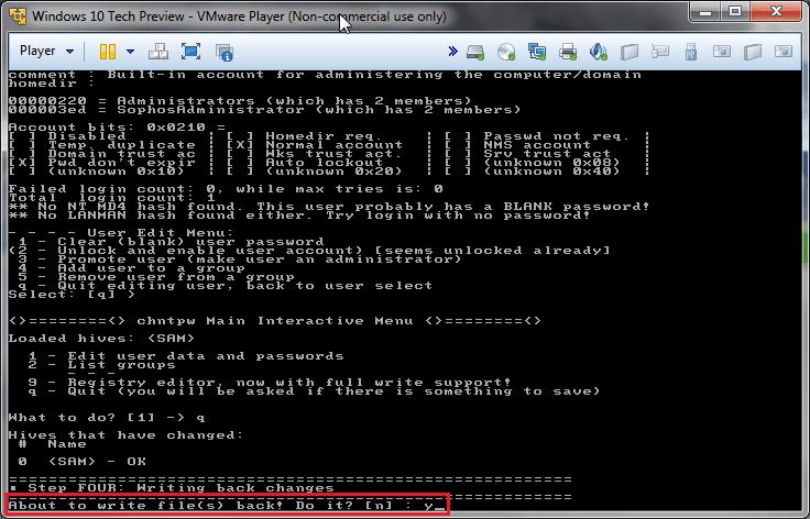 Chntpw: cambiare password all'amministratore di Windows 9