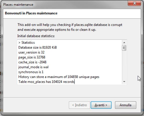 Firefox: ottimizzazione dei DB SQLite 1