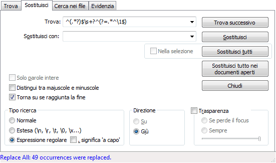 Notepad++: rimuovere righe duplicate