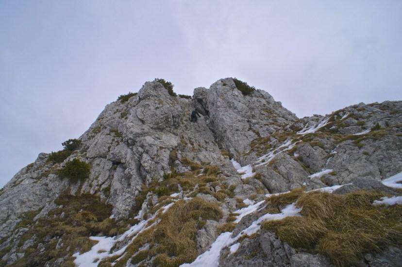 Die zu erkletternde Felsrinne am Buchstein © Gipfelfieber.com