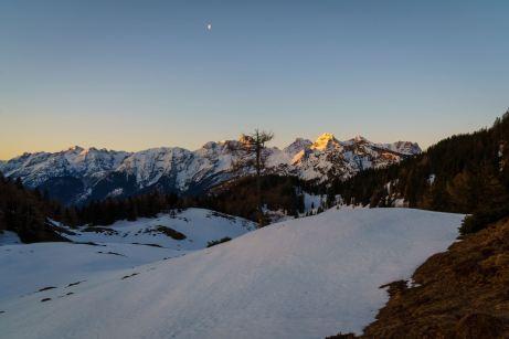Der Mond über den Loferer Steinbergen ©Gipfelfieber
