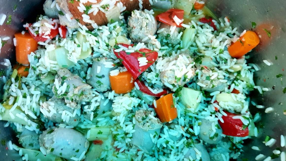 Bratwurst-Gemüse-Reis Outdoor-Rezept