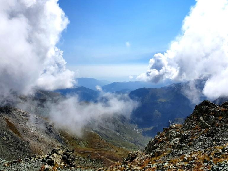 Blick vom Col de Traversette auf die Pian del Re, das Ziel des Hannibal Trek