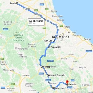 on the road da san leo a Gubbio