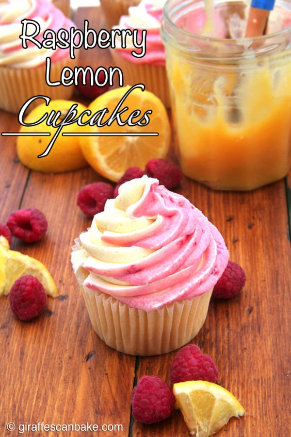 Lemon Raspberry Cupcakes by Giraffes Can Bake - Moist and tart lemon cupcakes filled with smooth lemon curd and topped with Lemon Raspberry Swirl Buttercream Frosting