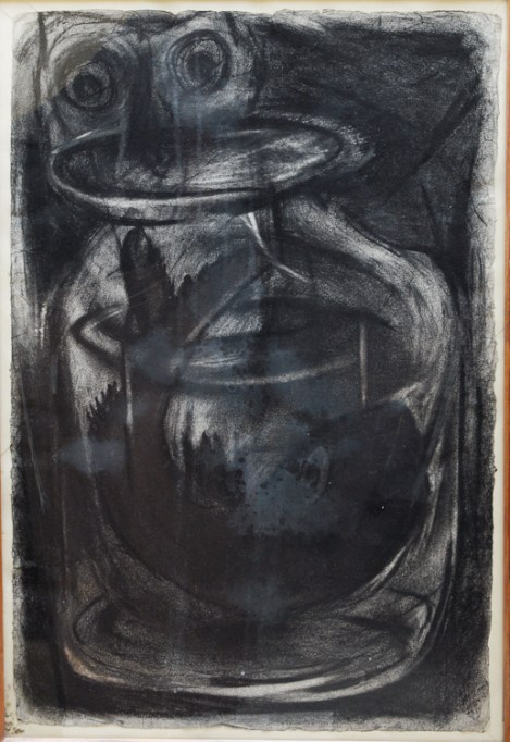"""""""Pooped""""  Charcoal on paper 1995"""