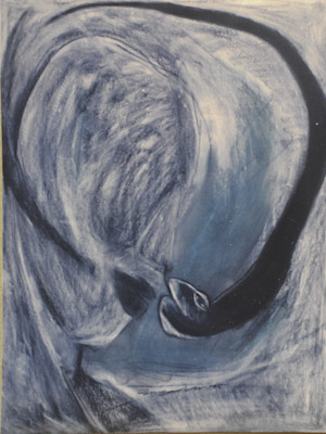 """"""" YES .... She is sniffing"""" Charcoal pastels on board paper. 1995"""
