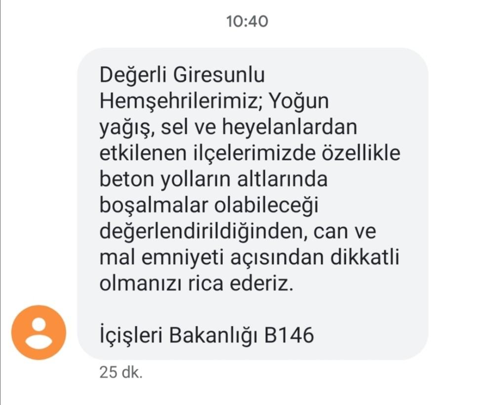 İçişleri Bakanlığından SMS ile Giresun'da tehlike uyarısı