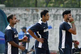 Kumble Harbajan and Mishra during practice sessions