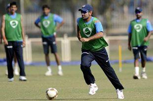 Pic Courtesy Cricinfo: Dhoni plays some football in the training session in Mumbai.