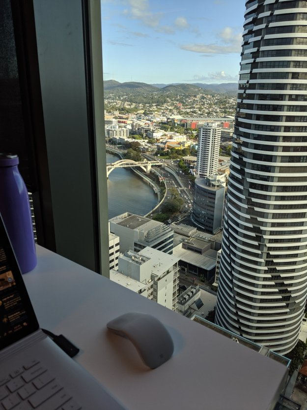 View from Microsoft Brisbane office  Looking out over Meriton BNE, William Jolly bridge, Go-Between Bridge, Riverside expressway , Suncorp stadium, Roma St Transit Centre and beyond!