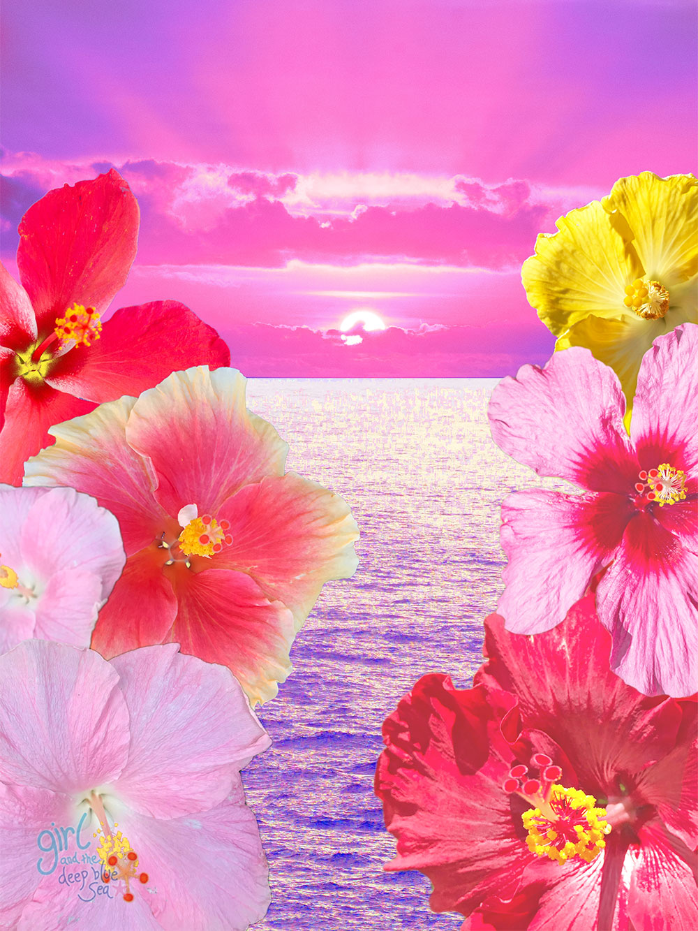 digital collage of ocean and tropical flowers by Australian tropical nature artist
