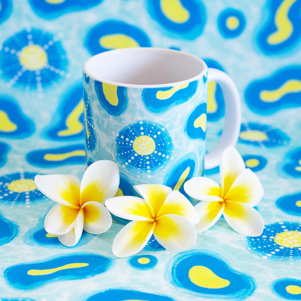 mug with fun seamless pattern and flowers. surface pattern design Australia.