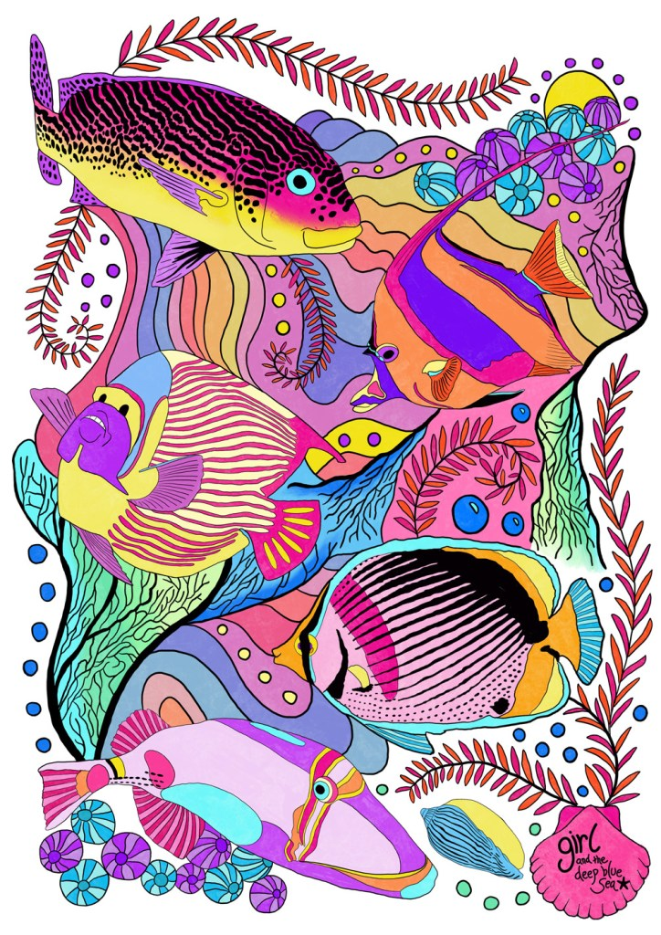underwater colouring page by Anna Markula, inspired by underwater photography of tropical fish