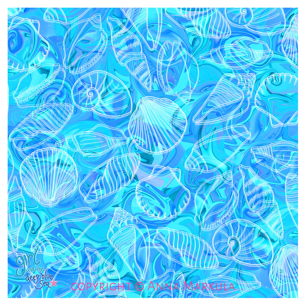 shell inspired pattern design - a seamless repeat pattern by Australian surface pattern designer Anna Markula