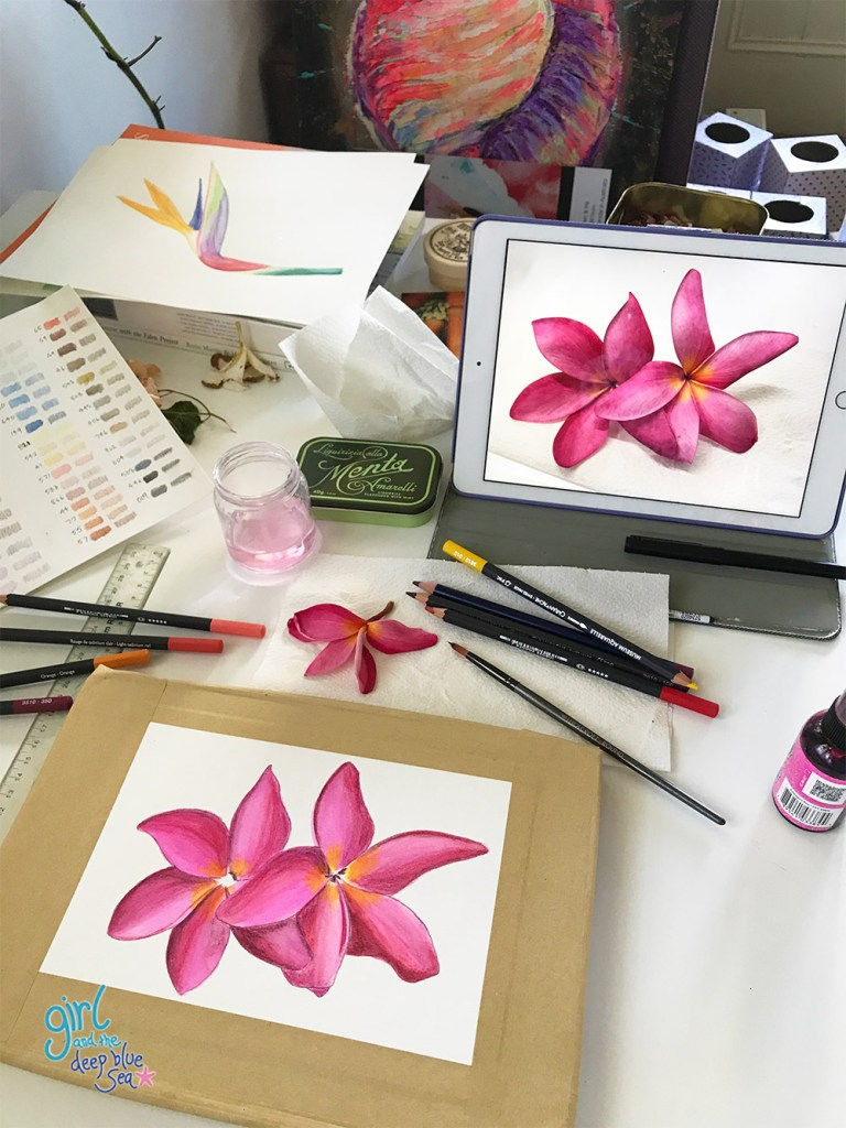 art table with flower sketch as part of tropical pattern design development
